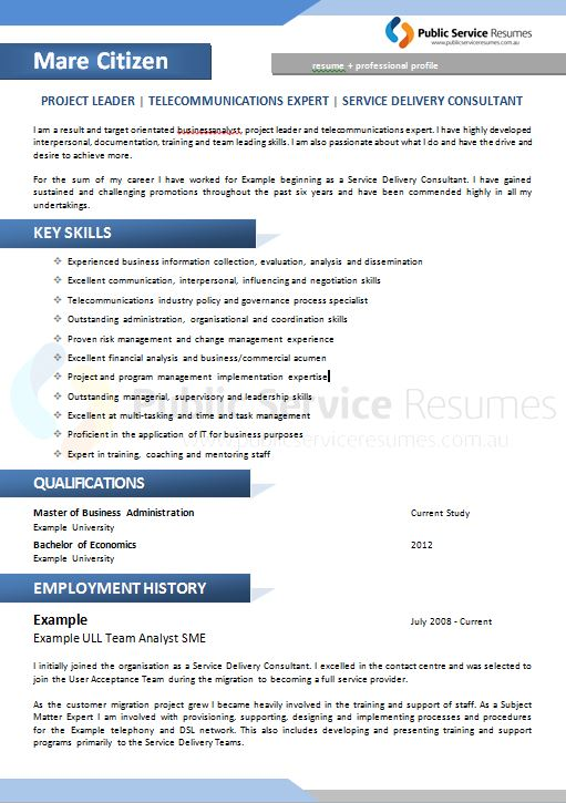 Public Service Resume 094 187 Blue Simple Professional