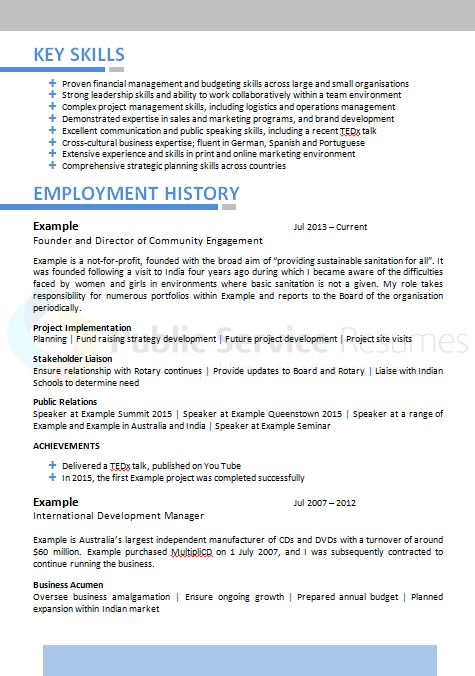 public sector executive resume  u00bb public service resumes