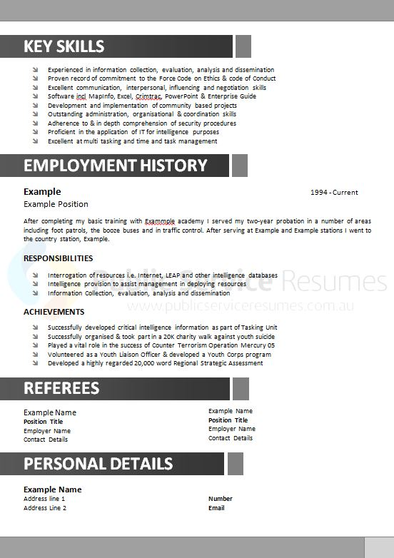 government resume example  u00bb public service resumes